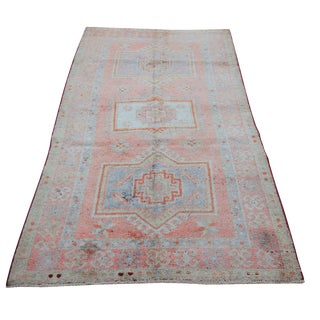 """Mid 20th Century Antique Turkish Tribal Oushak Hand Knotted Rug - 4'5"""" x 7'8"""""""