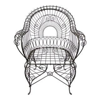 Victorian Style Black Wire Garden Chair