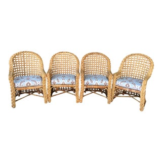 Kreiss Vintage Wicker Dining Chairs - Set of 4