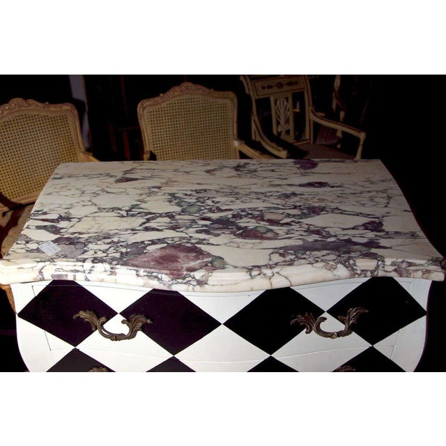 French Louis Xv Painted Marble Top Commode on Black Checkerboard Storage Chair