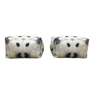 Linen & Cotton Blend Poufs - a Pair