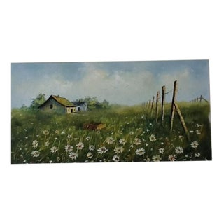 Vintage Country Landscape Painting on Canvas