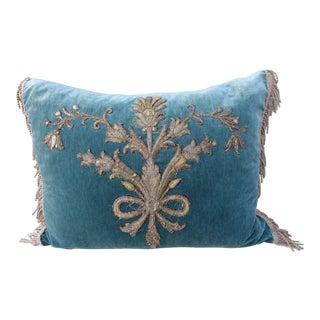 Sea Green Velvet Pillow with Silvery Gold Applique