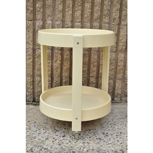 Vintage Joe Colombo Style Mid Century Modern Plastic Round Bar Tea Cart - Image 3 of 11