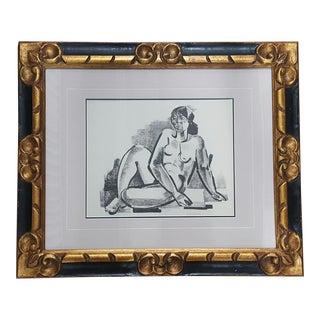 Edward Goldman Sitting Nude Lithograph