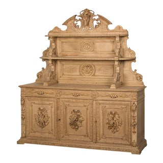 Antique French Henri II Style Carved, Weathered Oak Hunt Buffet circa 1885