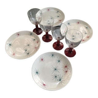 Mid-Century Atomic Starburst Dinner & Drinkware - Set of 8