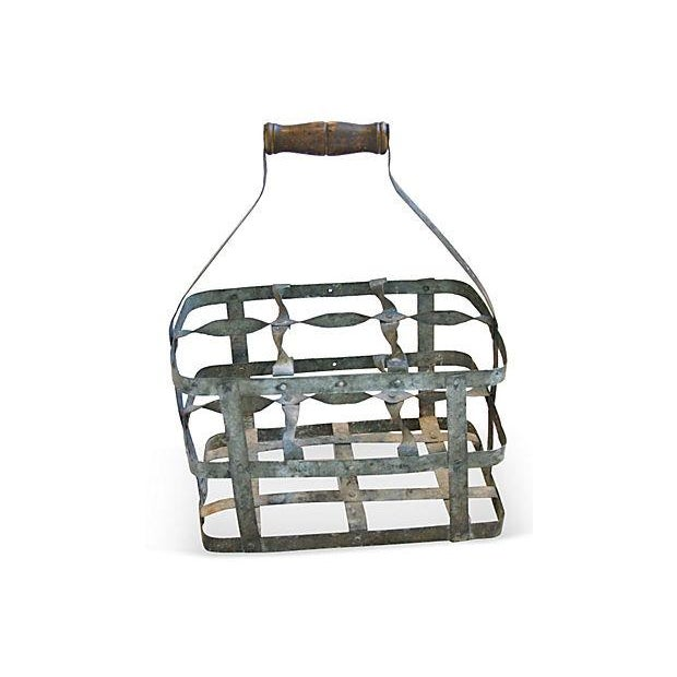 Image of Antique French Zinc Six-Bottle Carrier