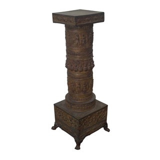 19th Century Brass Relief Neo Classical Pedestal