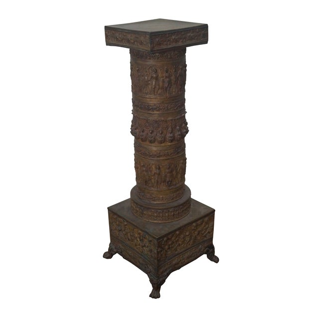 19th Century Brass Relief Neo Classical Pedestal - Image 1 of 10