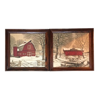 Framed Rustic Old Red Barn Farm Fabric Prints - a Pair