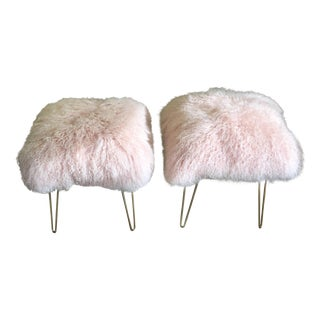 Blush Pink Genuine Mongolian Lamb Ottomans - a Pair