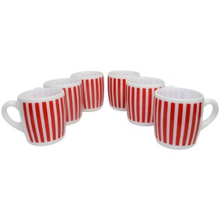 Hazel Atlas Red Striped Milk Glass Mugs – Set of 6