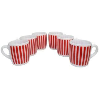 Hazel Atlas Red Striped Milk Glass Mugs – Set of 6