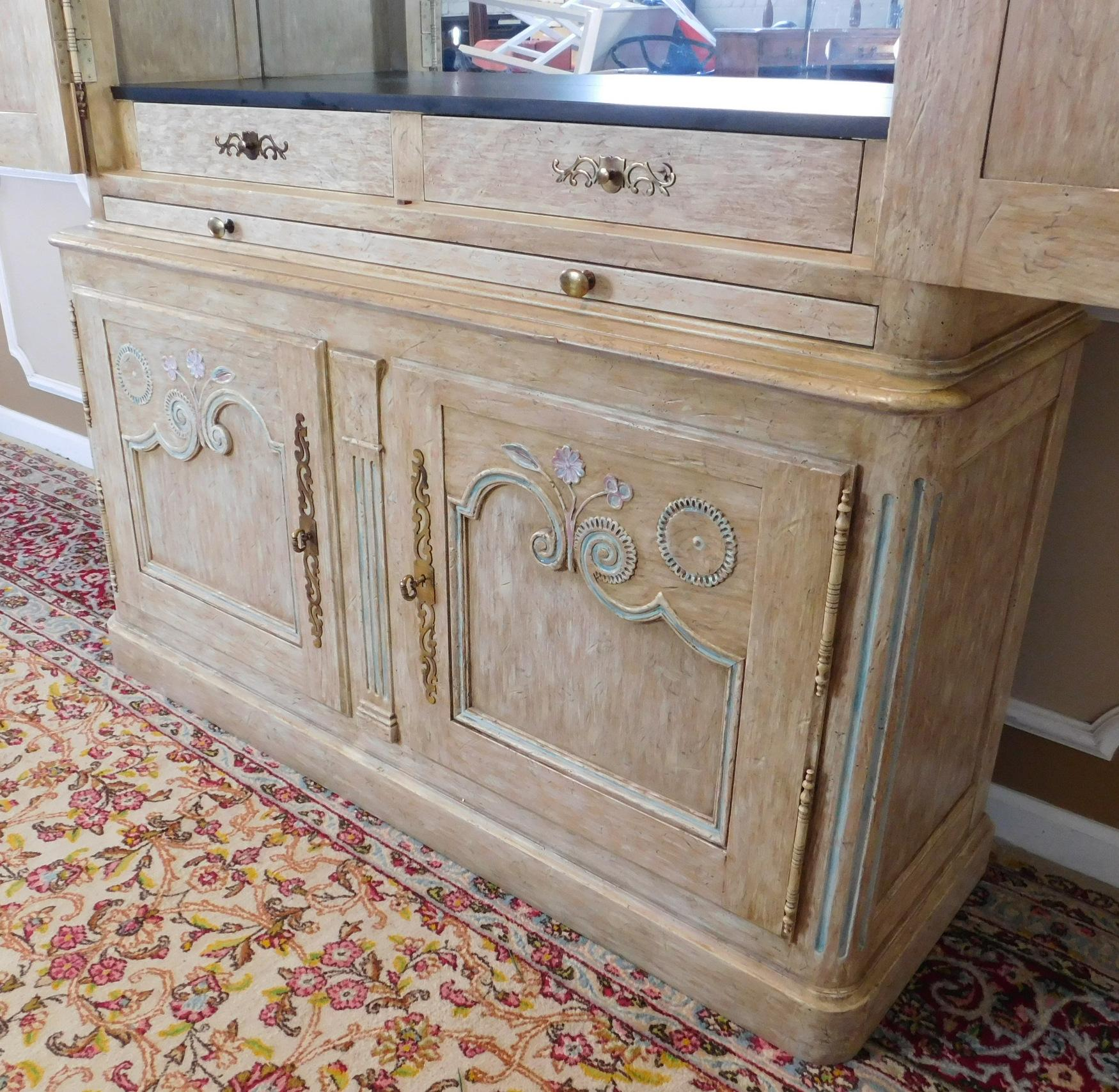 Country French Baker Furniture Paint Decorated Armoire Bar
