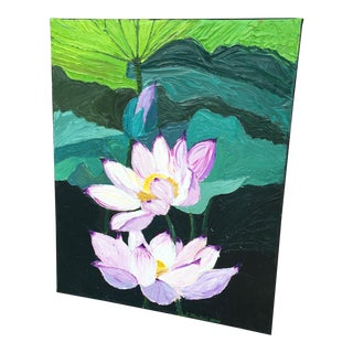 Lotus in Full Bloom Acrylic & Oil on Canvas Painting