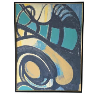 Large Blue & Yellow Abstract Modern Oil Painting