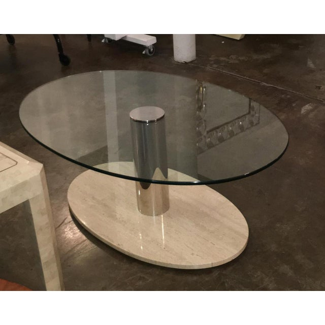 Mario Bellini for Cassina Travertine and Chrome Coffee Table with Glass - Image 2 of 9