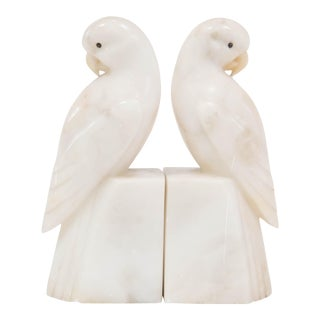 Art Deco Marble Parrot Bookends - A Pair