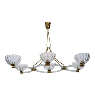 Extra Large Ercole Barovier Art Deco Six Light Chandelier