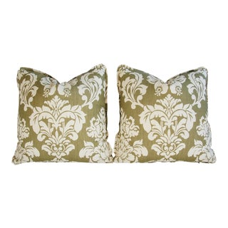 Designer Brule Fabric Randall Damask Pillows - Pair