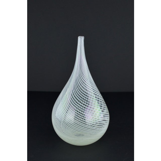 Modern White Spiral Hand Blown Art Glass Vase - Image 10 of 10