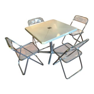 "Modern Metal Folding Card Table and Four ""Plia"" Chairs by Piretti for Castelli"