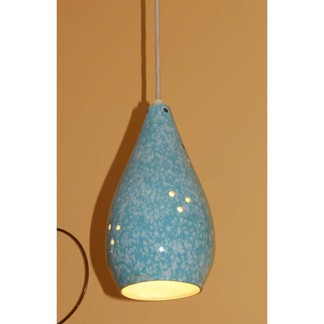Set of Three Colorful Glazed Ceramic Pendant Lights - Image 2 of 4