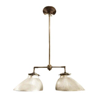 Industrial Double Mercury Glass Brass Pendant Fixture