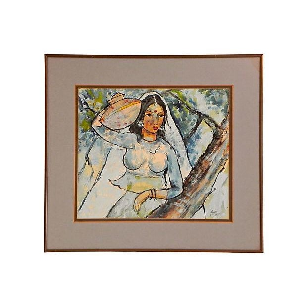 Image of Woman W/ Water Jug Painting