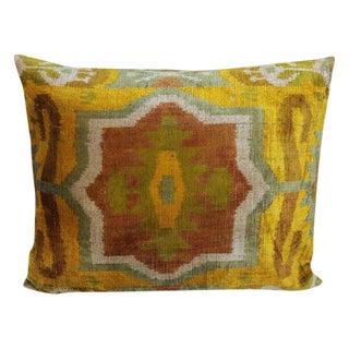 Vintage Silk Velvet Ikat Pillow