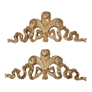 Set of 2- Hollywood Regency Rococo Brass Ribbon Bow Plumed Feather Furniture Applique Hardware