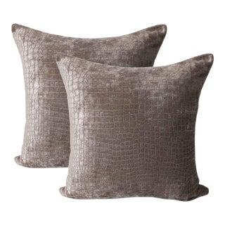 Driftwood Gator Chenille Down Feather Designer Pillows - A Pair