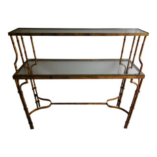 Faux Bamboo Tiered Console Table