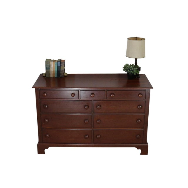 1940s Solid Wood Low Double Drawers Dresser - Image 2 of 4
