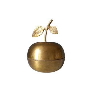 Vintage Brass Apple Trinket Box