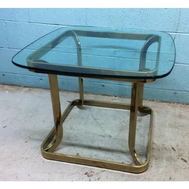 Milo Baughman Style Brass Side Table - Image 4 of 6