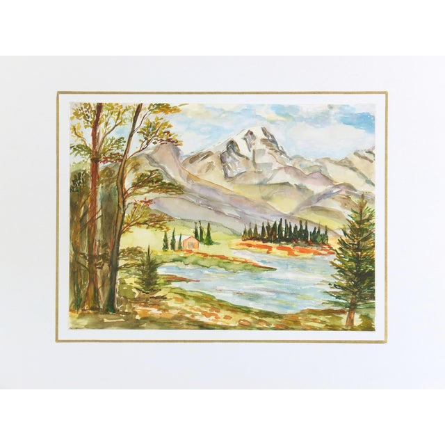 Image of Vintage Watercolor Mountain Lake Painting