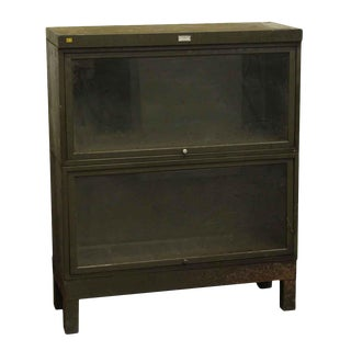 Vintage Dark Green Steel Barrister Bookcase