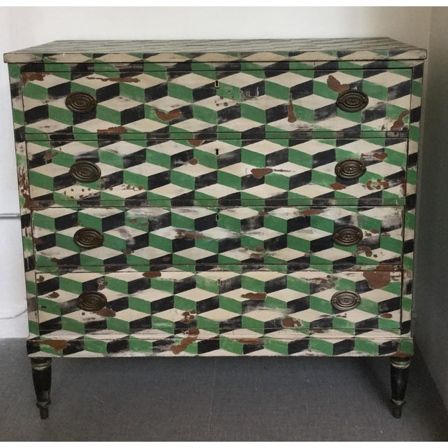 Geometric Hand Painted Antique Chest of Drawers - Image 2 of 10