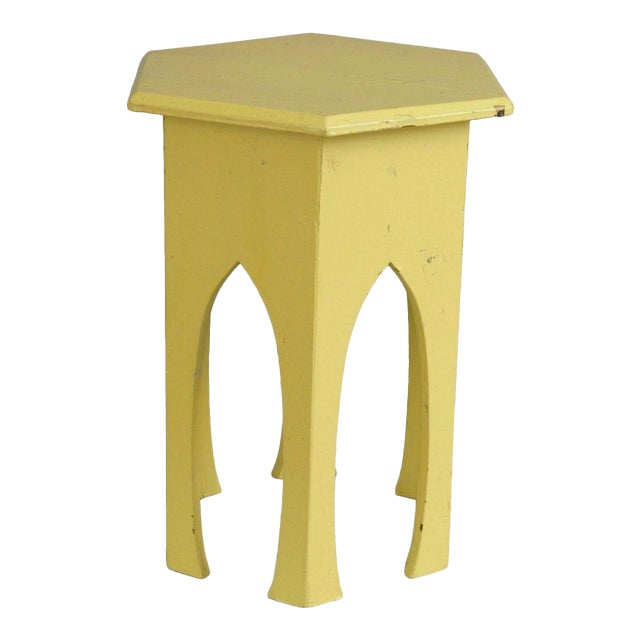 Primitive Rustic Moorish Style Yellow Painted Arched Accent Side Table - Image 1 of 11