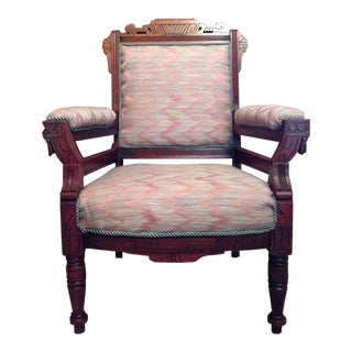 Arts & Crafts Style Carved Oak Upholstered Armchair