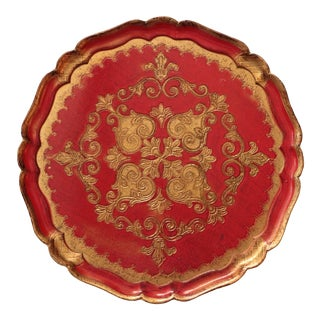 Red & Gold Round Florentine Tray