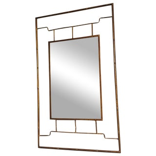 Bronze Metal Bamboo Framed Chinoiserie Mirror