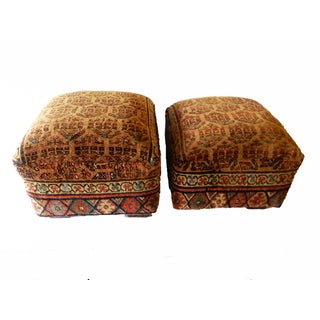 Antique Tribal Herat Rug Upholstered Ottomans - A Pair
