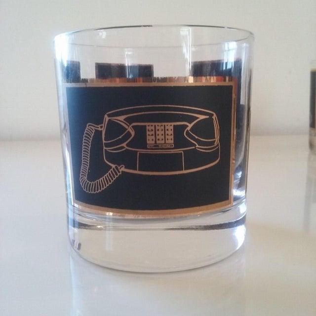 Black & Gold Phone Rocks Glasses - Set of 5 - Image 5 of 6