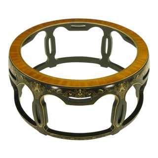 Asian Open Drum Coffee Table - Lacquered & Parcel Gilt