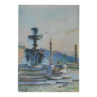 Vintage Lithograph, Fountain of Paul V in Rome