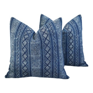 Indigo Blue & White Hand Blocked Batik Feather/Down Pillows - Pair