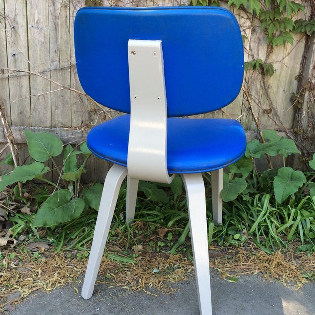 Blue Vinyl and Light Grey Thonet Side Chair - Image 5 of 5